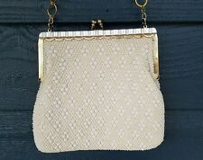 Vintage Pearl Lucite Kiss Lock Beaded Evening Bag Purse Clutch Shoulder Bag