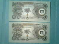 2x Biafra Banknote 1 Pound 1968 ND P 5 *UNC* Consecutive Serial #s &!