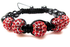 Red Beaded Shamballa Bracelet 10mm Disco Ball Crystal Hematite NEW