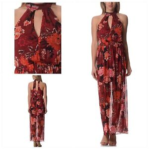 MISS SELFRIDGE Ophelia Red Floral Print Summer Evening Cocktail Maxi Dress **New