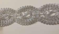 ATTRACTIVE INDIAN WIDE BRAIDED SILVER PAISLEY PATTERN LACE TRIM - SOLD by METRE
