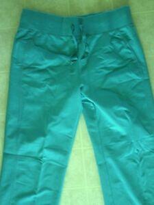 NWT Sz M Green Wide Leg Workout Lounge Pants Cotton Spandex Drawstring Tie