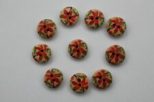 Pack of ten wooden 15mm round buttons  large red flower  design SR8