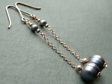 Peacock Baroque Ringed Freshwater Pearls & 14ct Rolled Rose Gold Drop Earrings