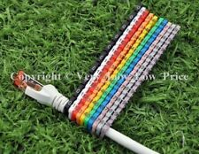 Nouveau câble Marqueurs 100 Colourful C-Type de marqueur Nombre Tag étiquette 4-6 mm cat5 D13 UK