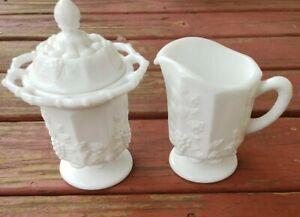 Vtg Milk Glass Sugar Bowl and Creamer Grape Pattern