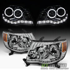 2005-2011 Toyota Tacoma LED DRL Halo Projector Headlights Headlamps Left+Right