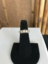 Ladies Fine Solid 14k Yellow Gold Diamond Band Ring.4.1g  Size 4 NICE!