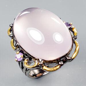 30ct Handmade SET Natural Rose Quartz 925 Sterling Silver Ring Size 8/R123350