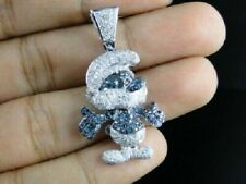 925 Sterling Silver Little Blue Smurf Sapphire & White Sappire Pendant Charm