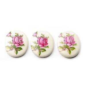 Lot (3) 25mm Czech vintage pink rose floral white porcelain cabochons