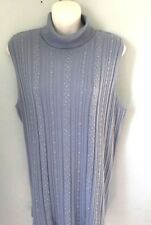 Requirements Sleeveless Blue Embellished Lightweight Turtleneck Sweater - 1X