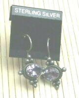 Vintage Sterling Earrings Silver 925 Bali Hand Work Amethyst Gemstone Pierced