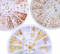 Rose Gold Rivet Studs 3D Nail Art Decoration Gold Circle Star Round Square Mixed