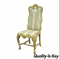 Vintage Swedish Rococo French Style Shell Carved Cream Painted Side Accent Chair