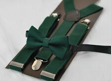 BABY BOY KIDS Dark Emerald Green Bottle Green Cotton Bow Tie + Suspenders Braces