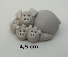 cochonne rigolotte avec bébés, terre cuite, collection, pig, varken B1-05