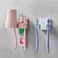 AM_ New Wall-Hang Toothbrush Toothpaste Gargle Cup Holder Bathroom Rack Organize