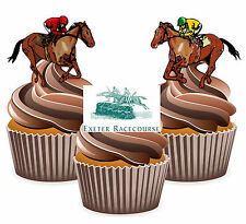 Horse Racing Exeter Racecourse - 12 Edible Cup Cake Toppers Cake Decorations