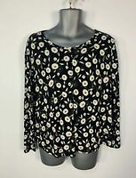 WOMENS NEXT BLACK WHITE FLOWER LACE BACK CASUAL LONG SLEEVE T SHIRT SIZE UK 16