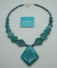 JAY KING Mongolian Turquoise Beaded Statement Geometric Necklace NEW