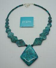JAY KING Mongolian Turquoise Beaded Statement Geometric Necklace NEW
