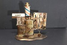 Vintage Metal Art Barber Shop Music Box from the 1970's