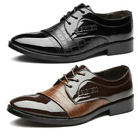 Men Lace Up Oxfords Formal Business Work Tuxedo Pointed Toe Patent Leather Shoes