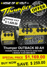 Thumper Outback DC Battery Pack 80 AH with IDC25 loom + jump leads + MINI 15AH