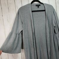 Lane Bryant Gray Open Front Long Cardigan Sweater Bell Sleeves Size 14/16