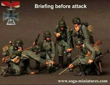 """1:35 soldado alemán """"reunión informativa antes de ataque"""" Segunda Guerra Mundial, Kit de modelo de resina de 6 figuras"""