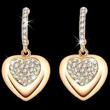 Micro Pave Set HEART Swarovski Crystal Ele Cz Hoop Dangle Drop Earrings Gold GP