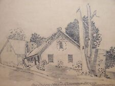 Pencil Sketch Drawing Of The Old Paper Mill Lansdowne PA - 1906 William Hutchins