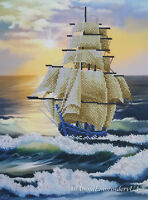 Bead Embroidery Needlepoint Tapestry kit Sailing Ship beaded cross stitch kit