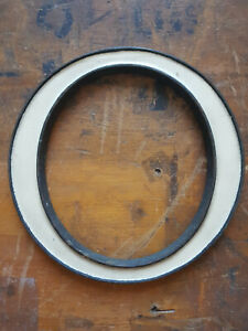 "Vintage bronze & off white enamel shop sign letter O circa 1920s - cream 6"""