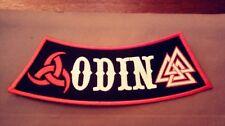 Odin Side Rocker Patch With Horns of Odin & Valknut.  Viking, Heathen, Asatru.