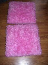 "PINK FAUX FUR PILLOWS SET of 2  LARGE 20"" X 20"" FUZZY PINK THROW PILLOWS DORM"