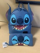 Disney RARE Stitch Faux Leather Loungefly Mini Backpack  And Wallet- NWT