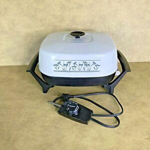 """VTG West Bend Electric Skillet 12"""" Immersible Non-Stick USA Floral Design MCM"""