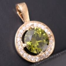 3 Ct Round Cut Peridot White CZ Halo Pendant Necklace Women Birthday Jewelry