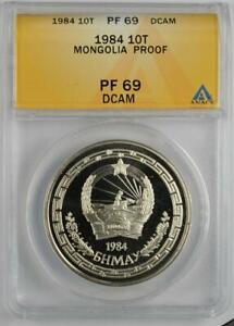 1984 Mongolia 10 Tugrik Proof Coin KM X# 1 ANACS PF 69 Deep Cameo