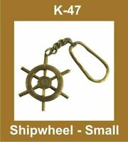 NEW SMALL SHIP WHEEL TYPE NAUTICAL KEY RING KEYCHAIN KEY FOB KEY BRASS MADE