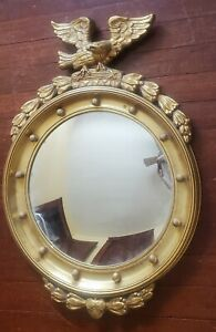 """Antique 34"""" Large Wood Eagle Curved Convex Bulls Eye Federal 13 Colonies Mirror"""