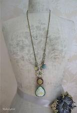 BOHM Enamel Swarovski Flower Long Necklace Vintage Gold/Pastels/Turquoise BNWT