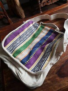 large canvas shoulder bag, hippy, bohemian.