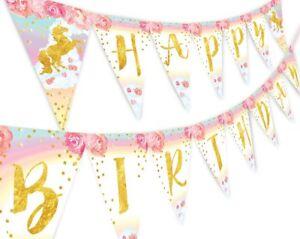 Unicorn Pastel Flower Happy Birthday Banner Pennant Rainbow Banner Flower