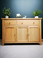 Oak Large Sideboard - Modern 3 Door Wide Cupboard - Rustic Solid Wood Cabinet