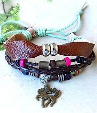 Lady Wild Mustang Horse Multi Strands Hemp Leather Surfer Bracelet Wristband