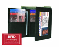 RFID BLOCKING MENS LEATHER THIN TRIFOLD WALLET ID WINDOW 12 CREDIT CARD HOLDER
