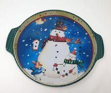 Viv Eisner-Hess Fine Arts Whinter Christmas Snowmen Tole Tray Enameled paper tag
